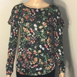 H & M : BLACK &. FLORAL LONG-SLEEVE TOP:  Size XS